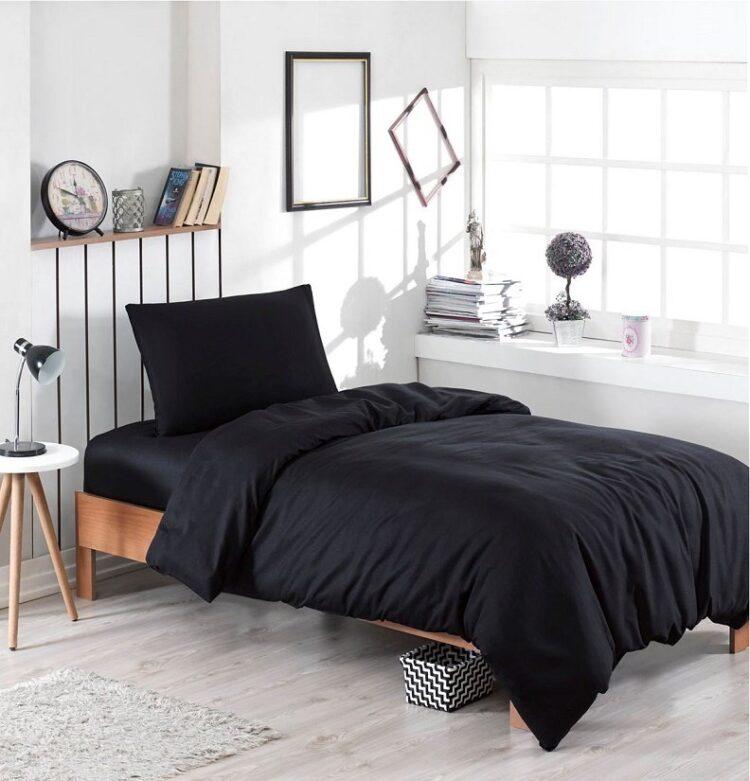 Single Duvet Cover Set -100% Cotton Ranforce Fabric/Black