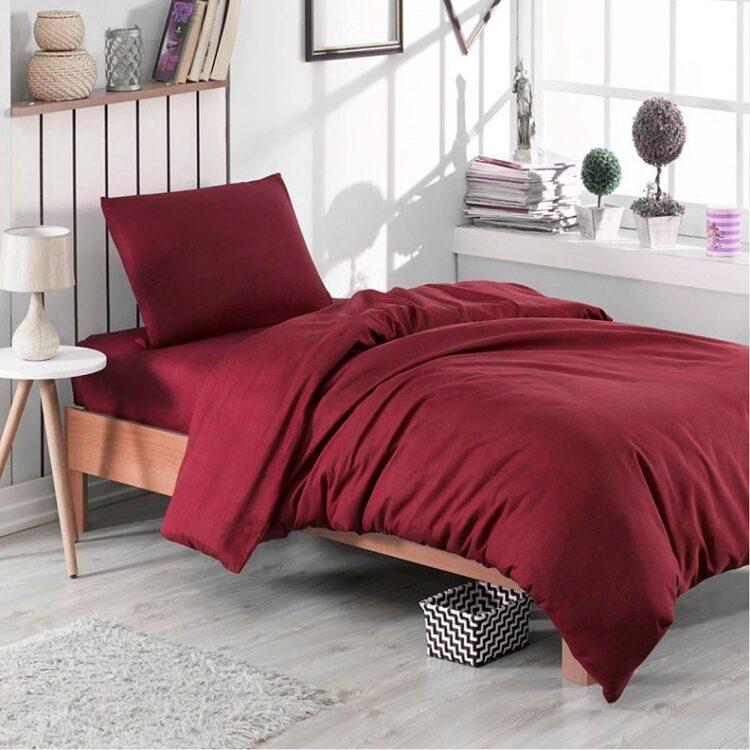 Single Duvet Cover Set -100% Cotton Ranforce Fabric/Claret Red