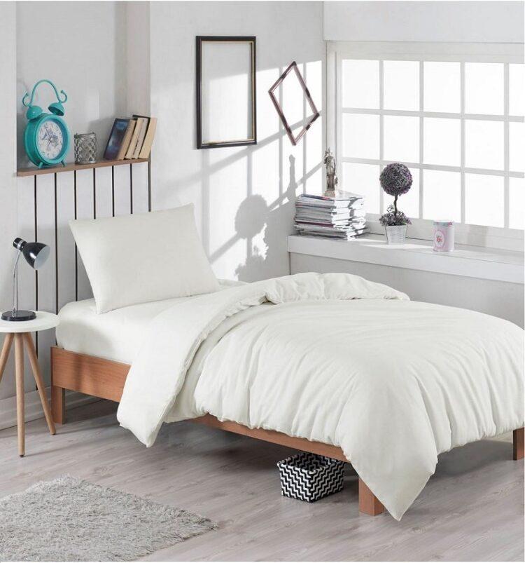 Single Duvet Cover Set -100% Cotton Ranforce Fabric/Cream