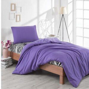 Single Duvet Cover Set -100% Cotton Ranforce Fabric/Purple