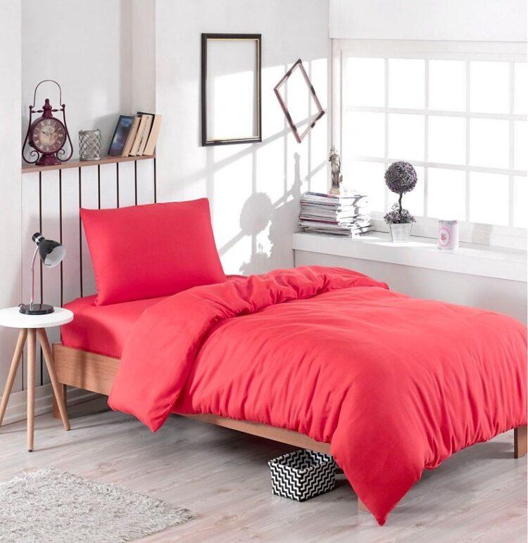 Single Duvet Cover Set -100% Cotton Ranforce Fabric/Red