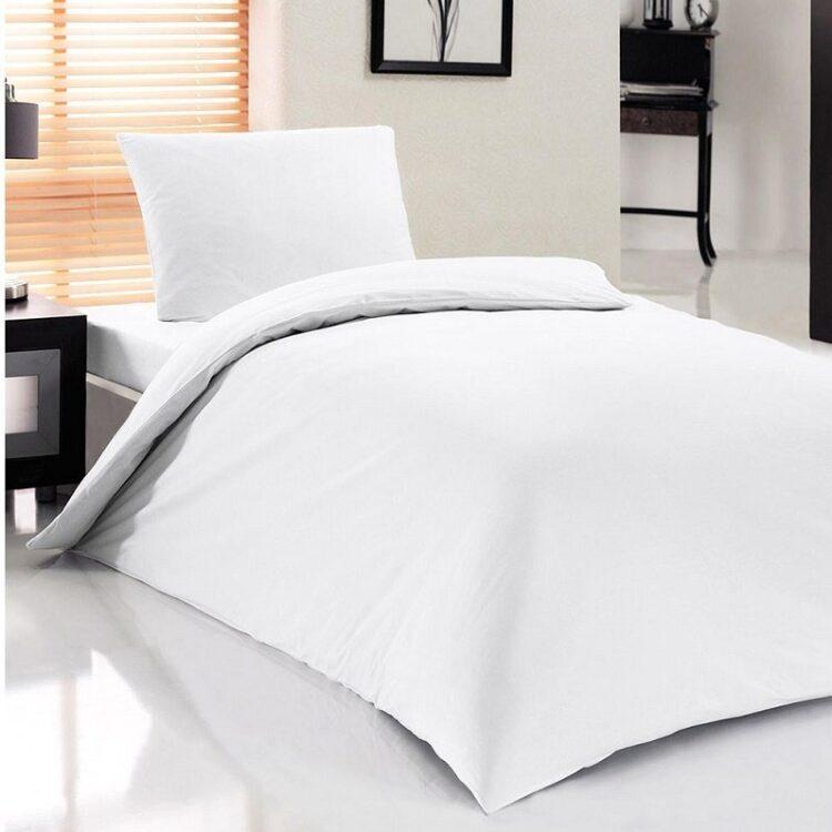 Single Duvet Cover Set -100% Cotton Ranforce Fabric/White