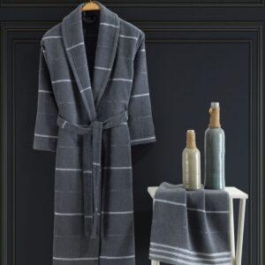 Turkish 100% Cotton 2 Piece Bathrobe Set / Man - Nakkısh