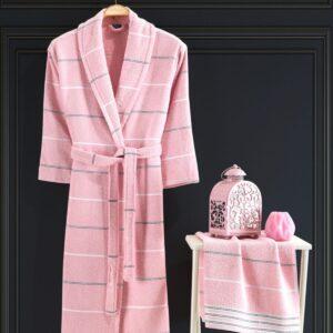 Turkish 100% Cotton 2 Piece Bathrobe Set / Woman - Nakkısh