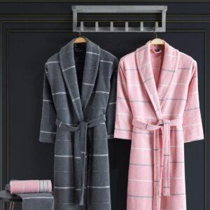 Turkish 100% Cotton 4 Piece Bathrobe Set Man / Woman - Nakkısh