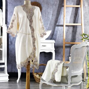 Turkish 100% Cotton (Minel) Honeymoon Bathrobe - Çeyiz Diyarı