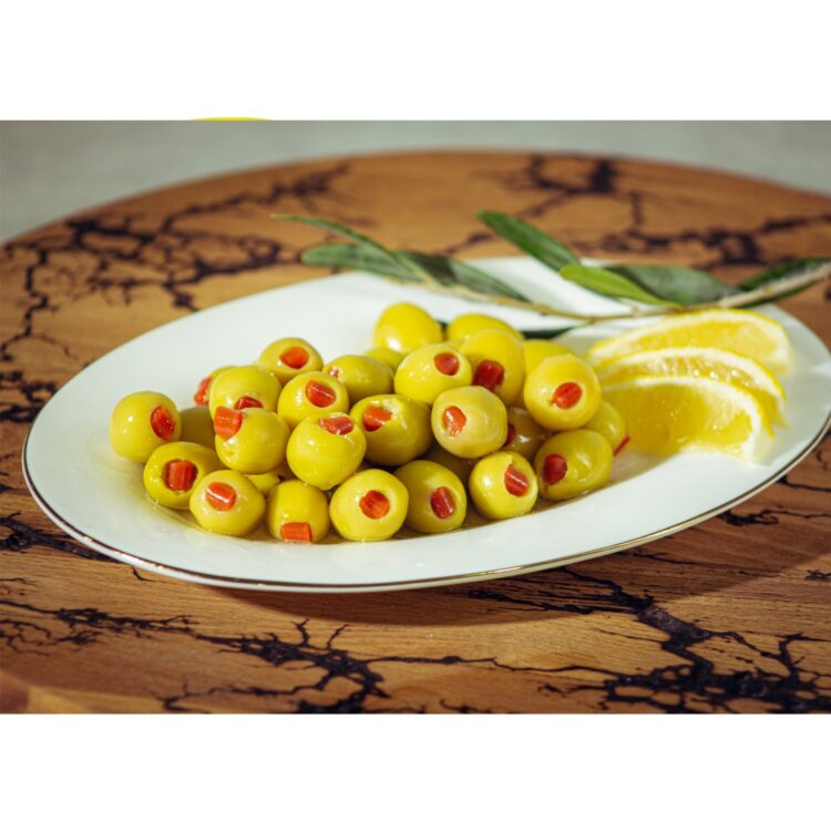 Turkish Natural Seedless Green Olives Stuffed with Red Pepper