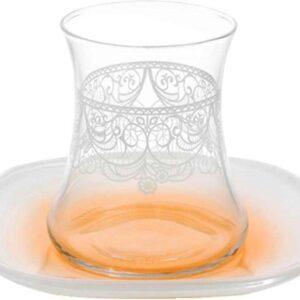 Lav Dantela Turkish Tea Glass Set Orange (12 Pcs)