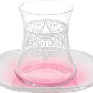 Lav Dantela Turkish Tea Glass Set Pink (12 Pcs)