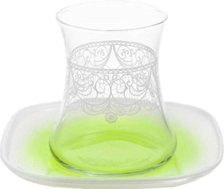Lav Ruching Turkish Tea Glass Set Green (12 Pcs)