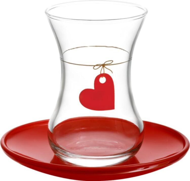 Lav Turkish Tea Glass Set-Hearth (12pcs)