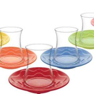 Lav Turkish Tea Glass Set-Lal Colours (12pcs)