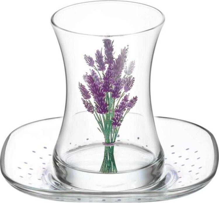 Lav Turkish Tea Glass Set-Lavender (12pcs)
