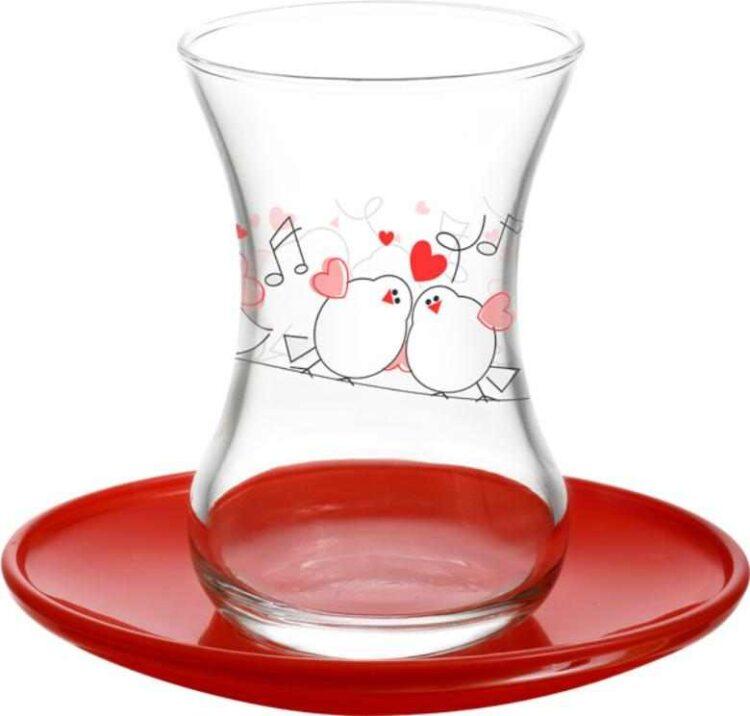 Lav Turkish Tea Glass Set-Love Melody (12pcs)
