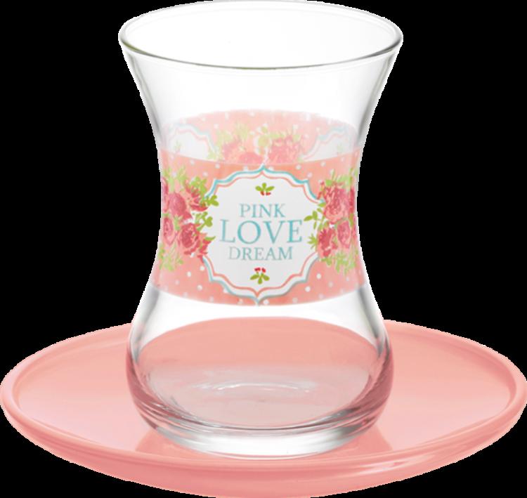 Lav Turkish Tea Glass Set-Pink Love Dream (12pcs)