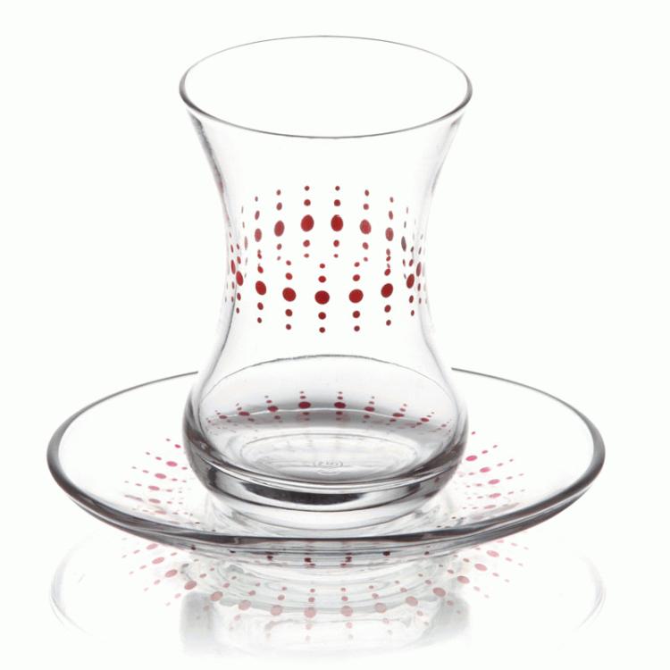 Lav Turkish Tea Glass Set-Polka Dot (12pcs)