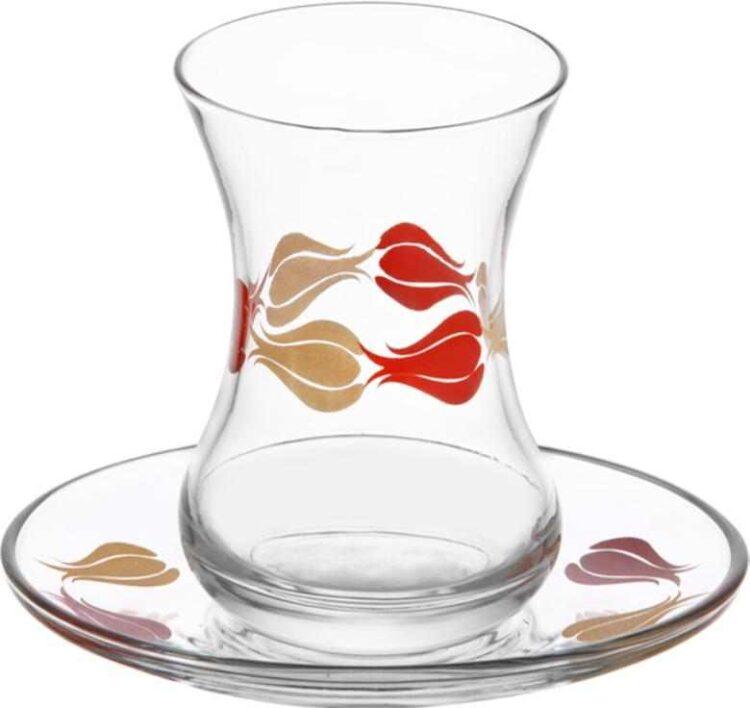 Lav Turkish Tea Glass Set-Tulip (12pcs)