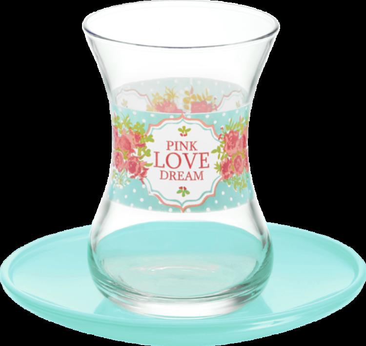 Lav Turkish Tea Glass Set-Turquoise Love Dream (12pcs)
