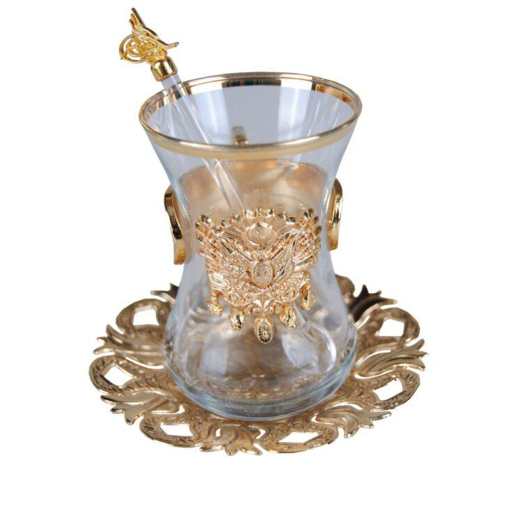 Turkish Ottoman Coat of Arms Tea Glass Set (18 Pcs)
