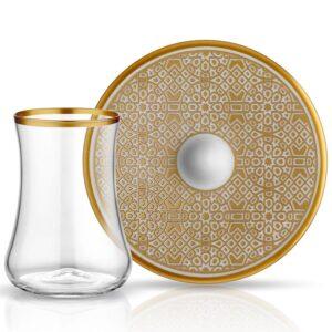 Turkish Tea Glass Set - Dervish Ottoman Gold (12 pcs)