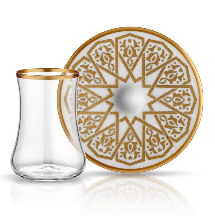 Turkish Tea Glass Set - Dervish Seljuk Theme (12 pcs)