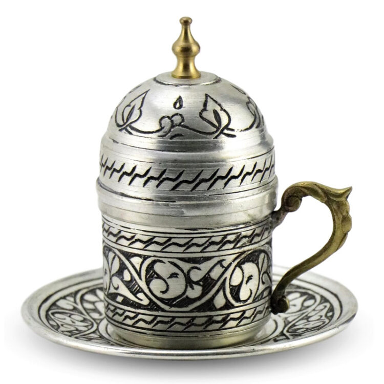 Turkish Copper Coffee Set Handcrafted - Padisah (Set of 6)