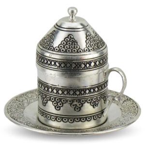 Turkish Copper Coffee Set Handcrafted - Grape (Set of 6)