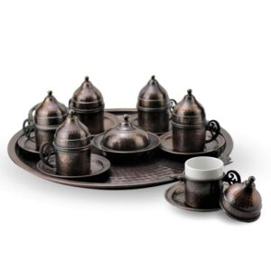 Turkish Copper Coffee Set Handcrafted - Antiquing (Set of 6)