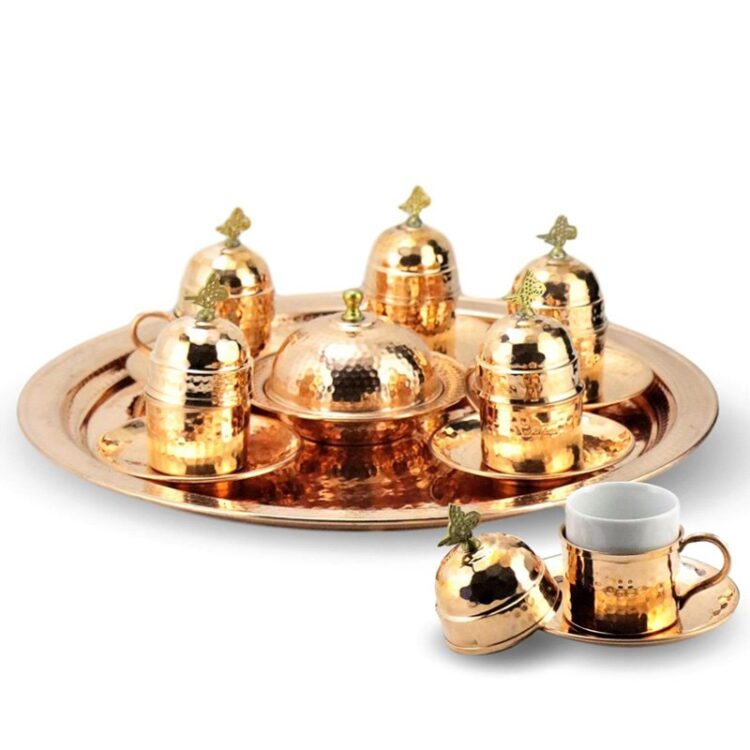 Turkish Copper Coffee Set Handcrafted - Nazik (Set of 6)