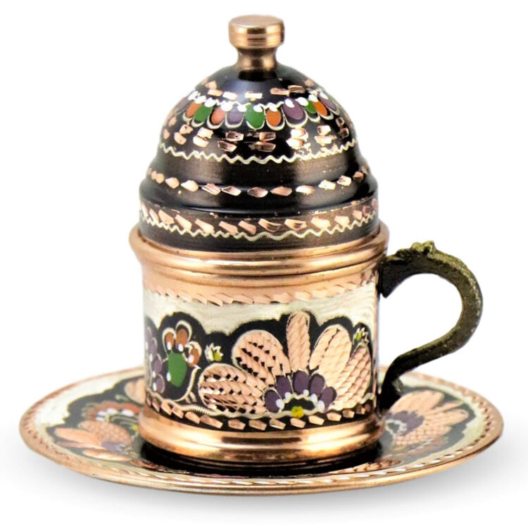 Turkish Copper Coffee Set Handcrafted - Erzincan (Set of 6)