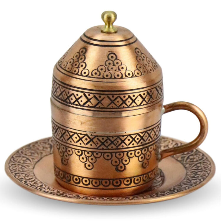 Turkish Copper Coffee Set Handcrafted - Sultan (Set of 6)