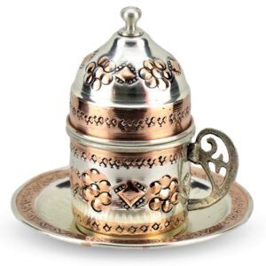 Turkish Copper Coffee Set Handcrafted - Miray (Set of 6)