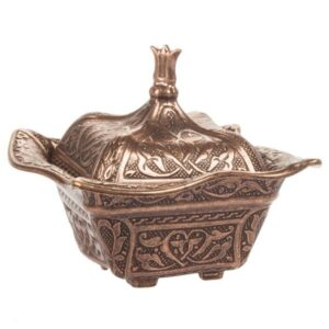 Handmade Embroidered Copper Turkish Delight and Sugar Bowl