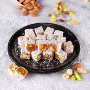 Turkish Delight Double Roasted Mixed Coconut Covered (Pistachio-Hazelnut-Almond) - İkbal